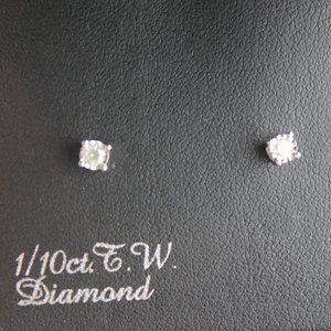 SALE! Diamond Stud Earrings Sterling S .10 c.t. TW